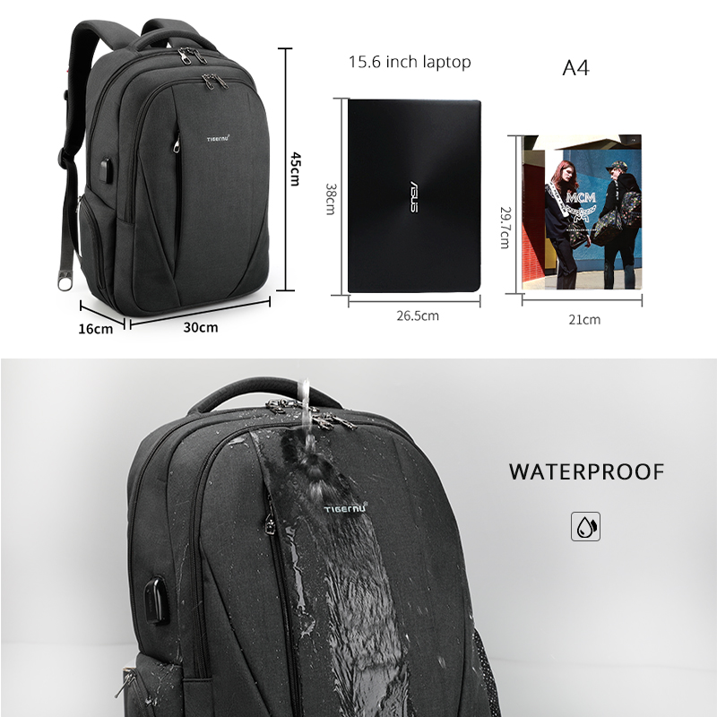 Image 5 - Tigernu USB Waterproof Anti Theft Backpacks for Men 15.6 inch Laptop Male Backpack for Travel School Bags for Teenager Mochila-in Backpacks from Luggage & Bags
