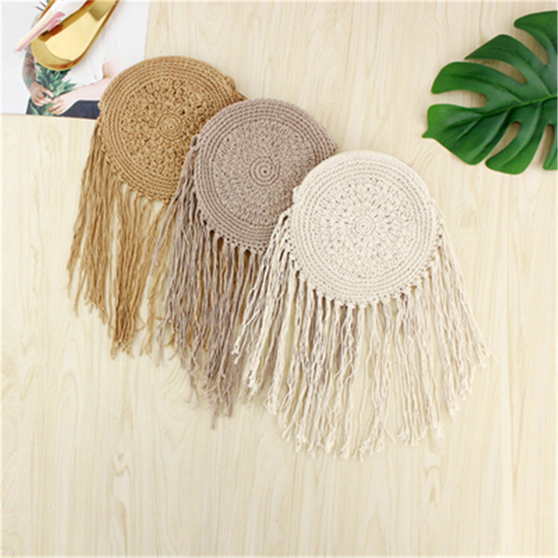 Round Straw Bag with Fringe Tassel 1