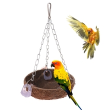 Pet Parrot Toys Perch Coconut Shell Swing Nest Hanging Cage Natural Birds Parakeet Bird Toy House