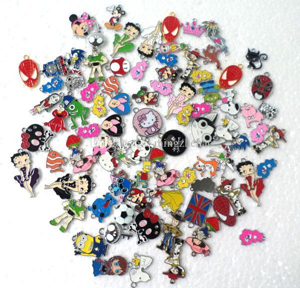 50 Pcs Hot Sale Cartoon Mix Looswe Style Zinc Alloy Metal Enamel Charms Metal Enamel Pendant
