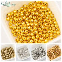 2 3 4 6MM Metal Beads For Jewelry Making and charms round diy loose beads en gros perles pour la fabricatier Bead Wholesale M103