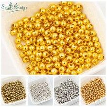 Perles métalliques pour la fabrication de bijoux et breloques, rondes bricolage, diy, vente en gros, M103, 2 3 4 6MM