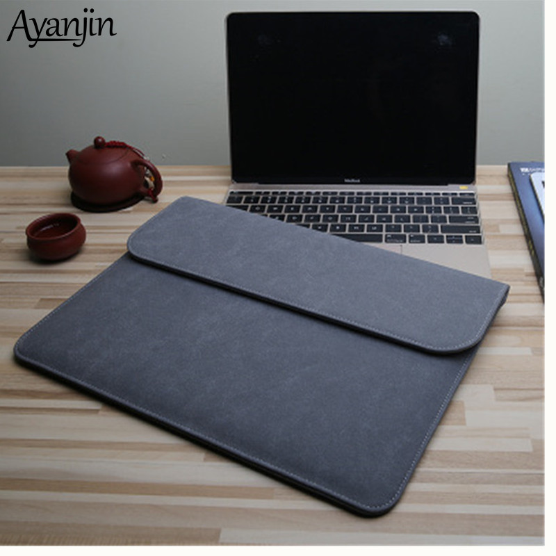 Matte PU Sleeve Waterproof Laptop Bag 14 15.6 For Macbook Xiaomi Air 13 Case 11 12 New 2018 pro 15 Bags Women Men Cover image