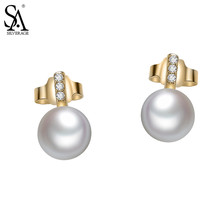 Фотография SA SILVERAGE Round Shell Pearls Stud Earrings for Women 925 Silver Fine Jewelry Mother of Pearl Earrings Brincos Female Gift