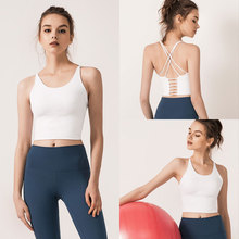 2019 Sexy Solid Backless Women Crop Top Sports Underwear Shirts Cross Thin Shoulder Strap Camisole Vests Cropped Tops light blue cold shoulder thin strap top