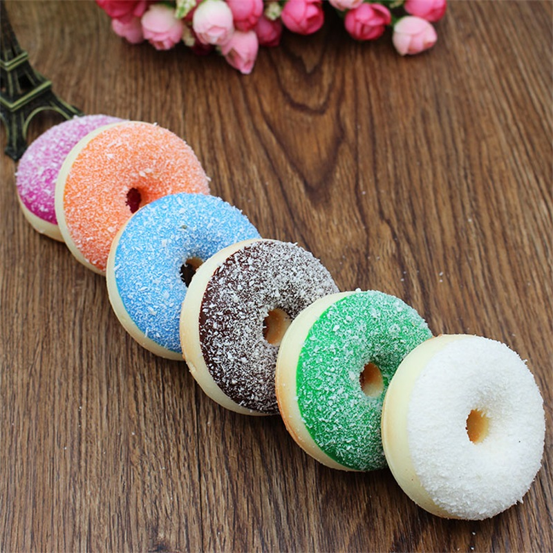 6pc Artificial Fake Bread Donuts Doughnuts Simulation Model Ornaments Cake Decoration Toys Children Pretend Play Kitchen Toys enlarge
