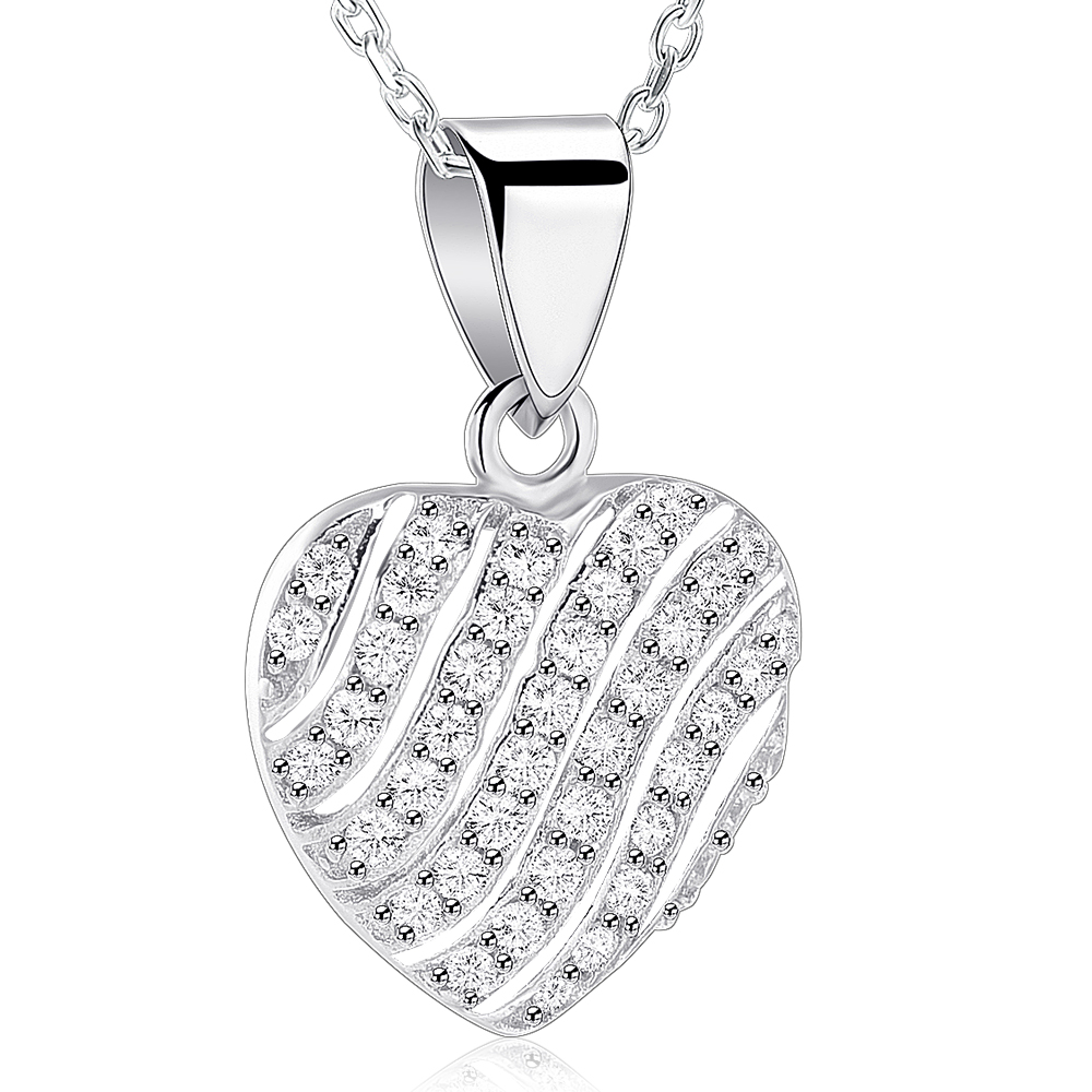 IJS0001 Perfect gift for Women/Girls!925 Sterling Silver Heart Pendant Necklace With Shiny Zircon for Wedding/Graduation gift