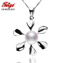 The New Design Flower-shaped Pearl Pendant Necklaces 8-9mm White Freshwater Pearls Real 925 Silver Womens Fine Jewelry