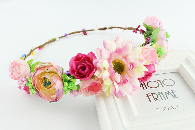 Flower summer elastic hairband floral headbands for women peach color  festival crown flower headband floral hair wreath crown 96ac4dda848