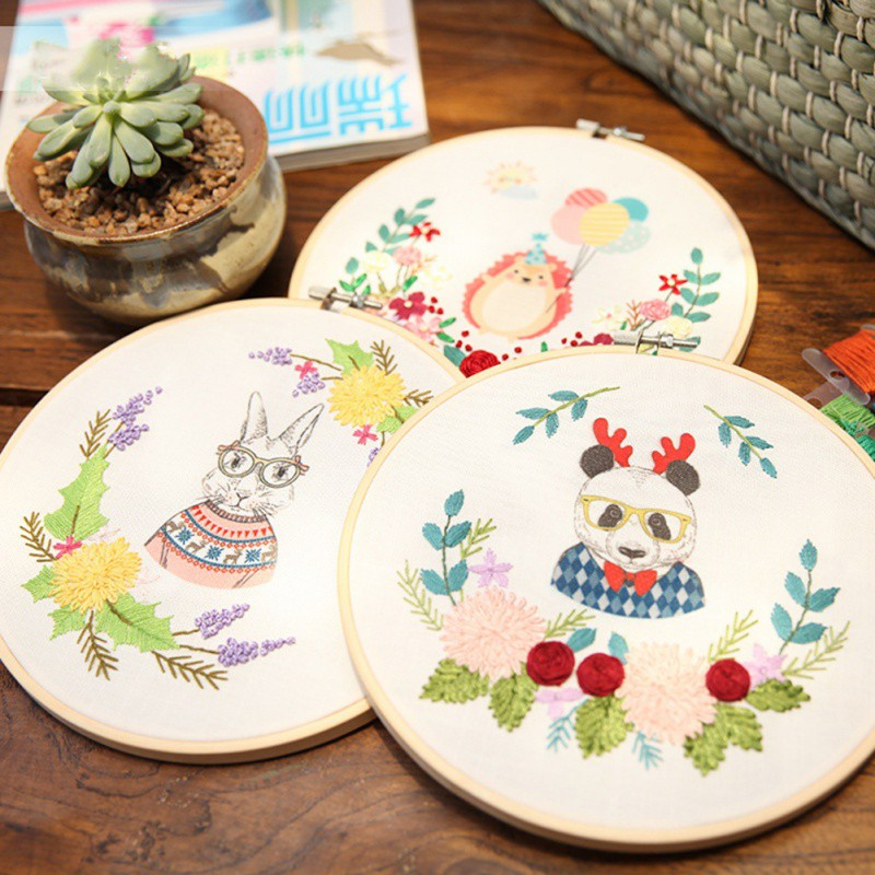 Easy Ribbon Embroidery Sale With Retro Hoop for Beginner Needlework Cross Stitch Kit Handmade Sewing Wall Decor Flowers Series(China)