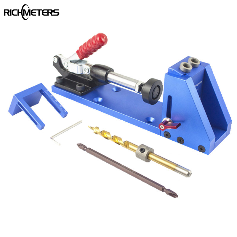 DIY Pocket Hole Jig Kit System For Wood Working Joinery Step Drill Bit Accessories Worker Tool Set