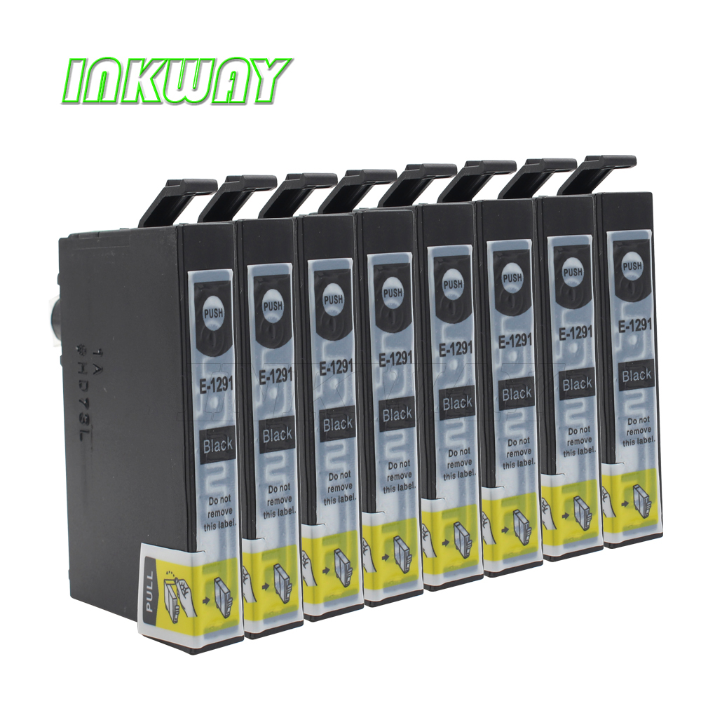 INK WAY 8pk t1291 printer ink cartridges for <font><b>Epson</b></font> <font><b>BX305</b></font> BX320 BX525 BX625 BX630 BX925 SX235 SX420 SX425 SX525 SX620 image