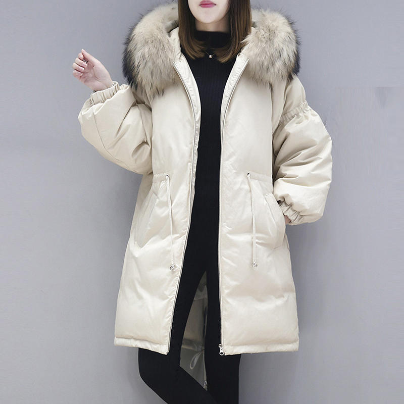 Real Big Fur Collar Hooded   Down     Coats   Women Long Thicken Fashion Loose Winter   Down   Jackets White Duck   Down   Outwears FP1699
