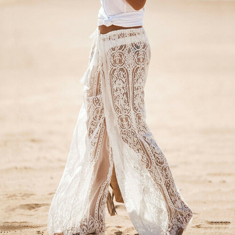 Summer Sexy Women's Sheer Floral Lace   Wide     Leg     Pants   Ladies Flares Loose Dance   Pants   Mid   Wide   Long Beach Trousers