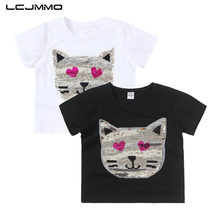 LCJMMO 2018 Summer Cotton Girls T-Shirts For Short Sleeves Boys Tops & Tees Kids Clothes Sequins Sling Baby Girl T Shirt 2-6 Y
