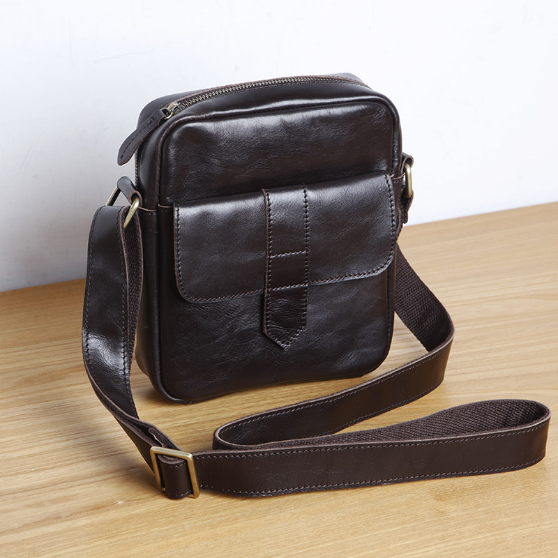 LANSPACE men s leather shoulder bag brand cow leather small bag fashion messenger bag
