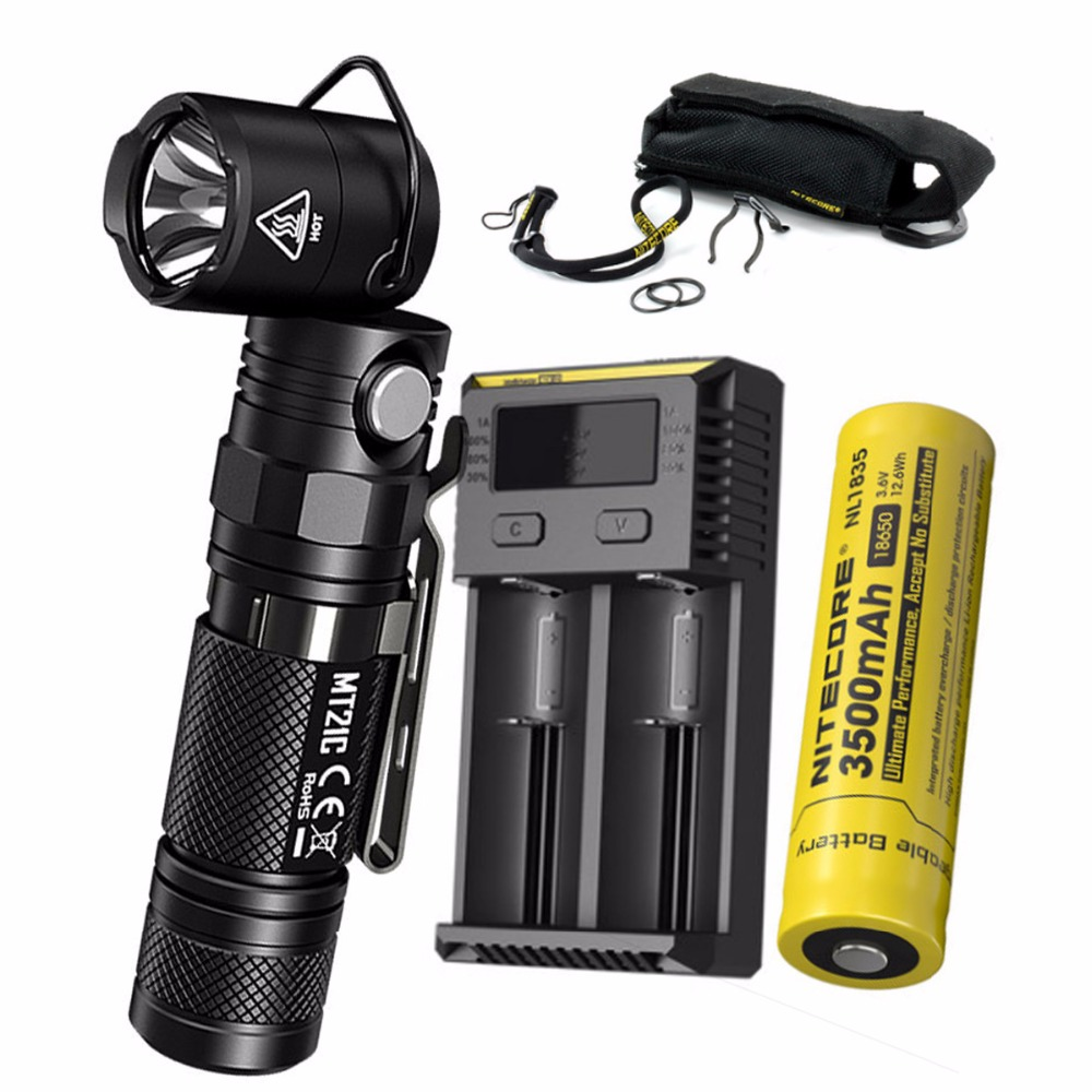 NITECORE MT21C 1000LMs Multi-functional 90Degree Adjustable Flashlight Portable Diecast Torch with 3500mAh battery and charger nitecore nbm40 multi purpose portable battery magazine at your disposal travel kits