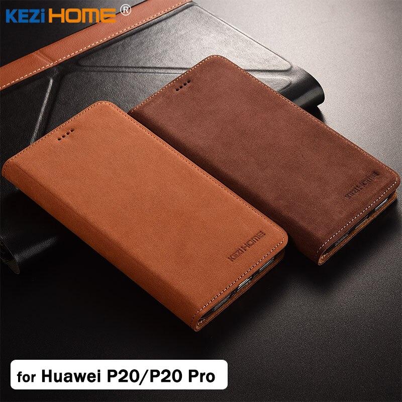 Pour Huawei P20/P20 Pro cas KEZiHOME De Luxe Mat Véritable en cuir Flip Stand Couverture En Cuir capa Pour Huawei P20 Pro cas