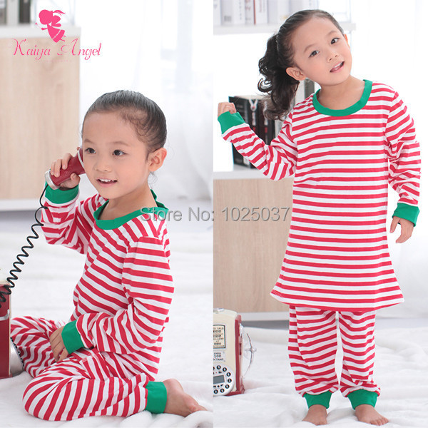 Christmas Pajamas Baby Girls Pajamas Long Sleeve Top Pants Set Cotton  Christmas Outfits Red White Stripe Clothing Free Shipping 3dbf3fd15