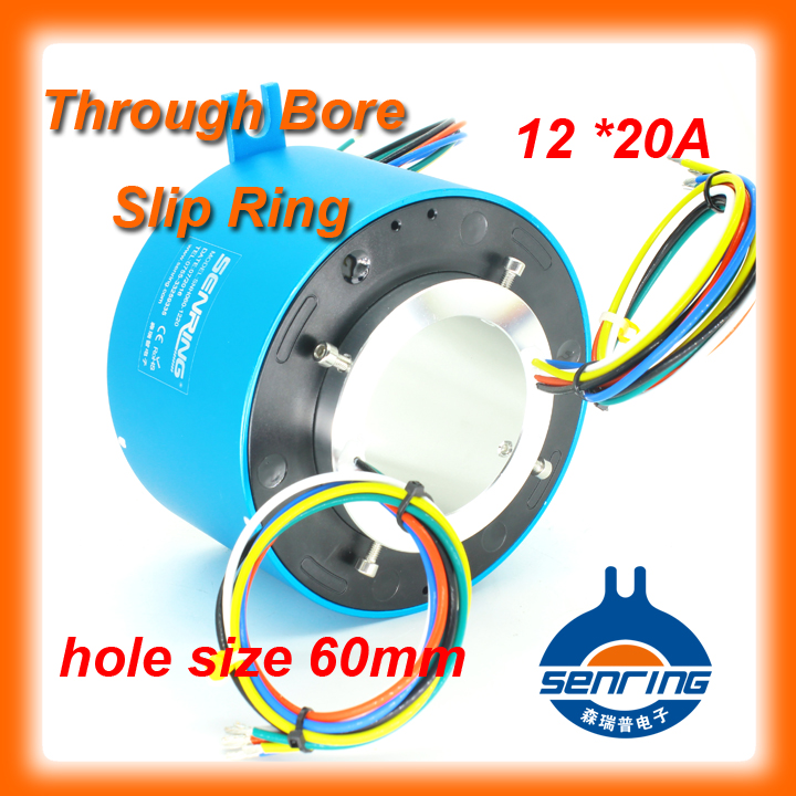 Senring slip ring large current 20A , 12 wires of through bore slip ring with ID 60mm