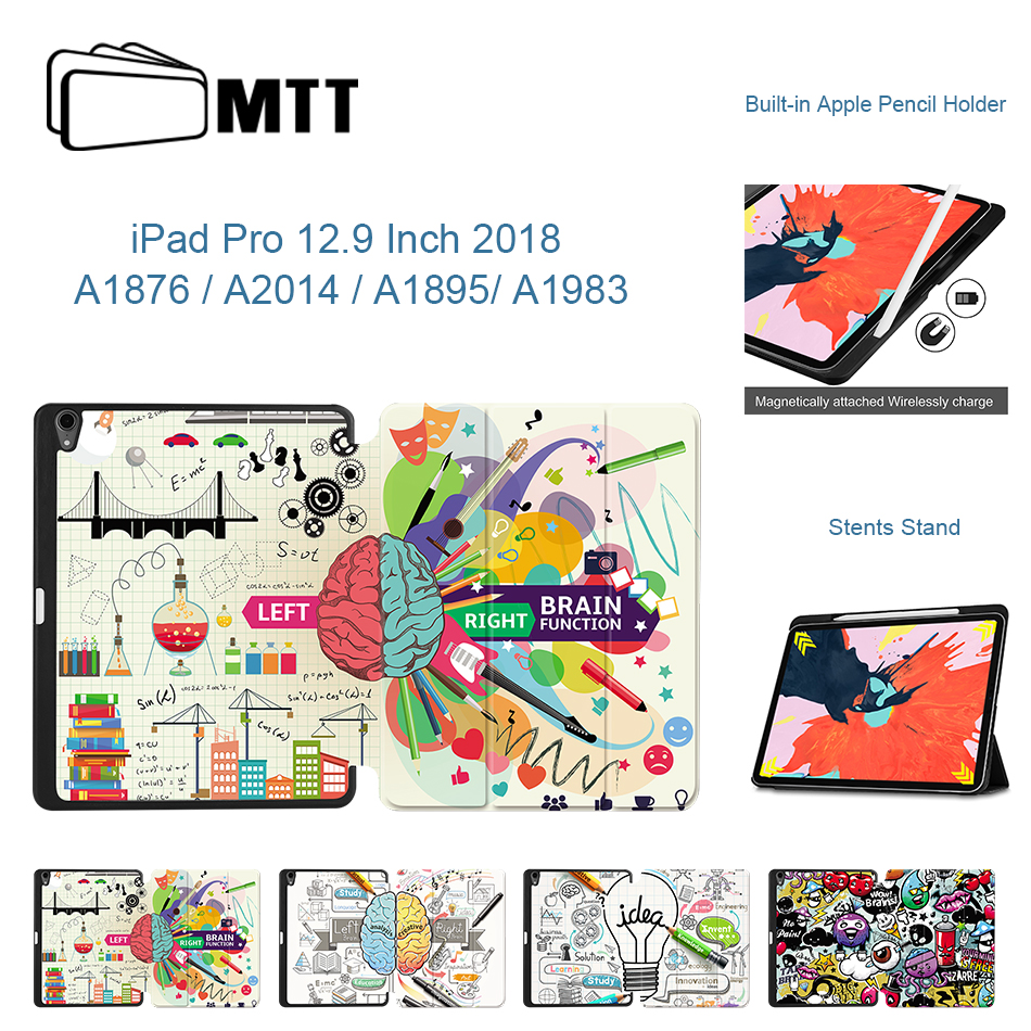 MTT 2018 Case For IPad Pro 12.9 Inch With Pencil Holder PU Leather Magnetic Flip Stand Cover Tablet Case Smart Auto Sleep/Wake