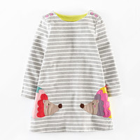 2 7 Yrs Girls Long Sleeve Casual Wear Dress Applique Embroidery Children Clothes Fall Girls Clothing