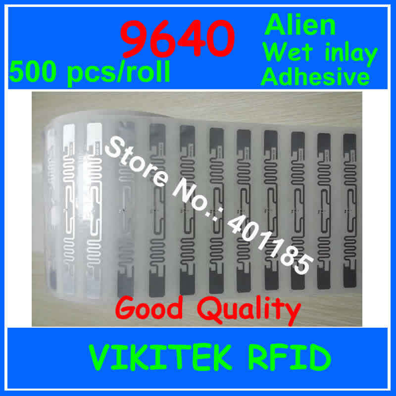 Alien Authoried 9640 Glue Adhesive UHF RFID Wet Inlay 500pcs Per Roll 860-960MHZ Higgs3 EPC C1G2 ISO18000-6C Used RFID Tag Label