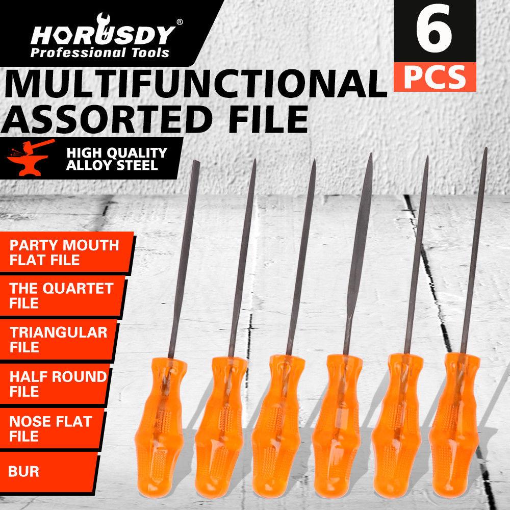 HORUSDY 6pcs Assorted File Set Metal Filing Rasp Needle Wood Tools Hand Woodworking Grinding Mini Tool