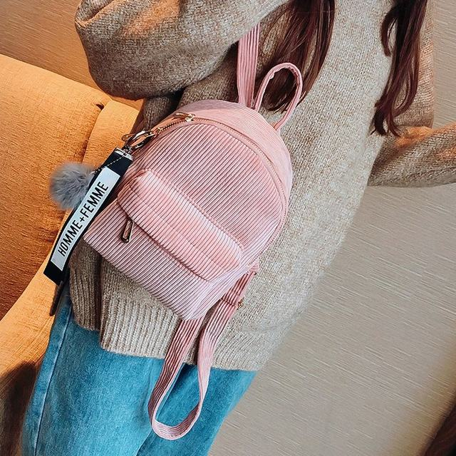 Cute velvet Backpack For Teenagers Children Mini Back Pack Kawaii Girls Kids Small Backpacks female Packbags Fur ball school bag (29)