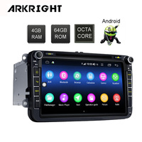 ARKRIGH 8 4+64GB Android 8.1 autoradio Stereo HU support 4G SIM card GPS player for VW Skoda POLO GOLF PASSAT car Multimedia