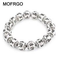 MOFRGO Charme Feine Vintage Meditation Tibetischen Buddhismus Versilbert Armband Eingraviert Perlen Armbänder Für Frauen Und Männer Schmuck