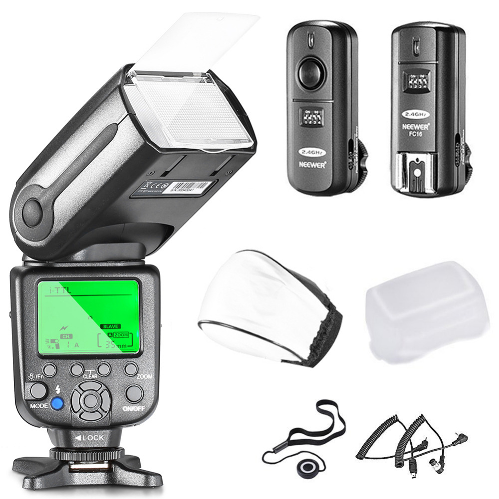 Neewer® NW565EX Professional I-TTL Slave Flash Speedlite Kit for Nikon DSLR Cameras- Includes: Neewer Auto-Focus Flash+2.4G spash sl 685c gn60 wireless master slave flash light ttl speedlite for nikon lcd screen cameras flash adjustable fill light