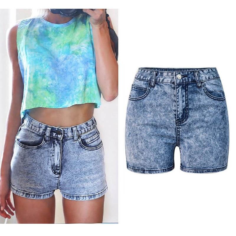 2017 Hochwertige Mode Hotpants Frauen Denim Shorts Hohe Taille Schlank Stretch Gewaschen Schneeflocken Jeans Shorts Baumwolle Denim Shorts