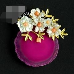 Natural pingente de flor de pedra preciosa frete grátis
