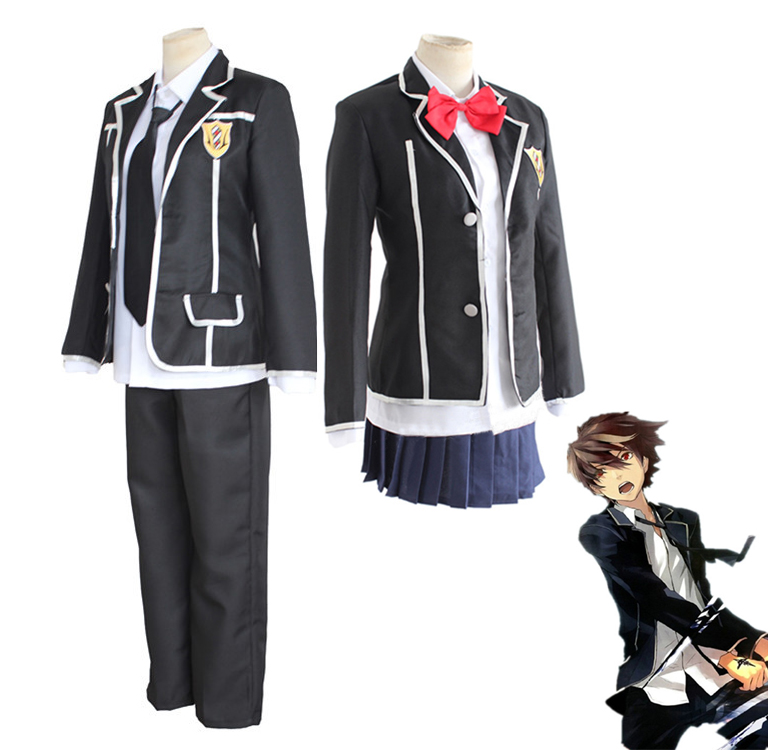 2Styles Anime Guilty Crown Yuzuriha Inori Oumi Shu Cosplay Costume Full Set School Uniform Size S-XL