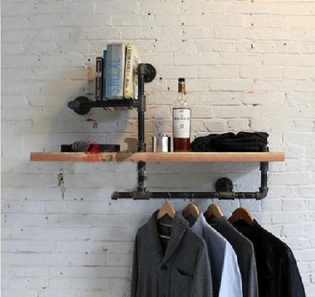 Madeira tamanho 45 * 15 cm loja de roupas prateleira de exposição de roupas Vintage cabides Rack de roupas ferro forjado Industrial tubos prateleira - Z3
