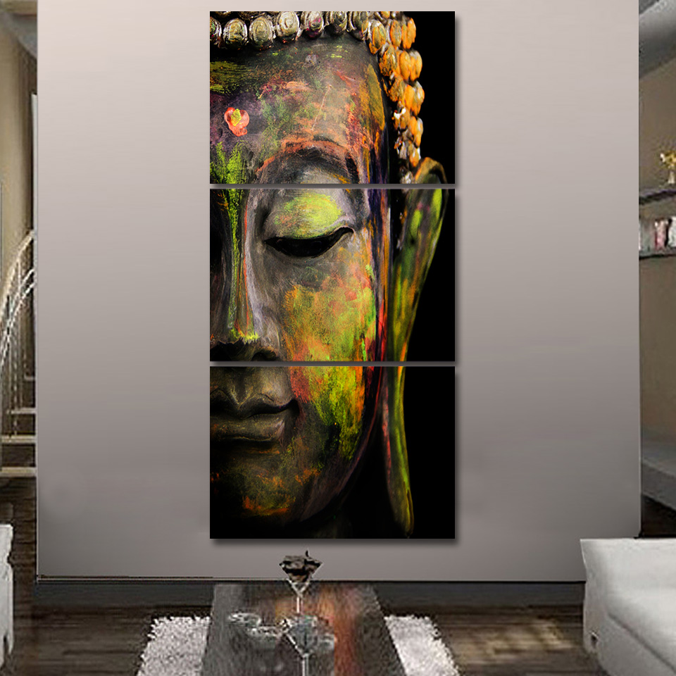 Framelessoil Paintings Canvas Colorful Buddha Sitting Wall: Modern Canvas Printed Poster Frame Home Wall Art Buddha