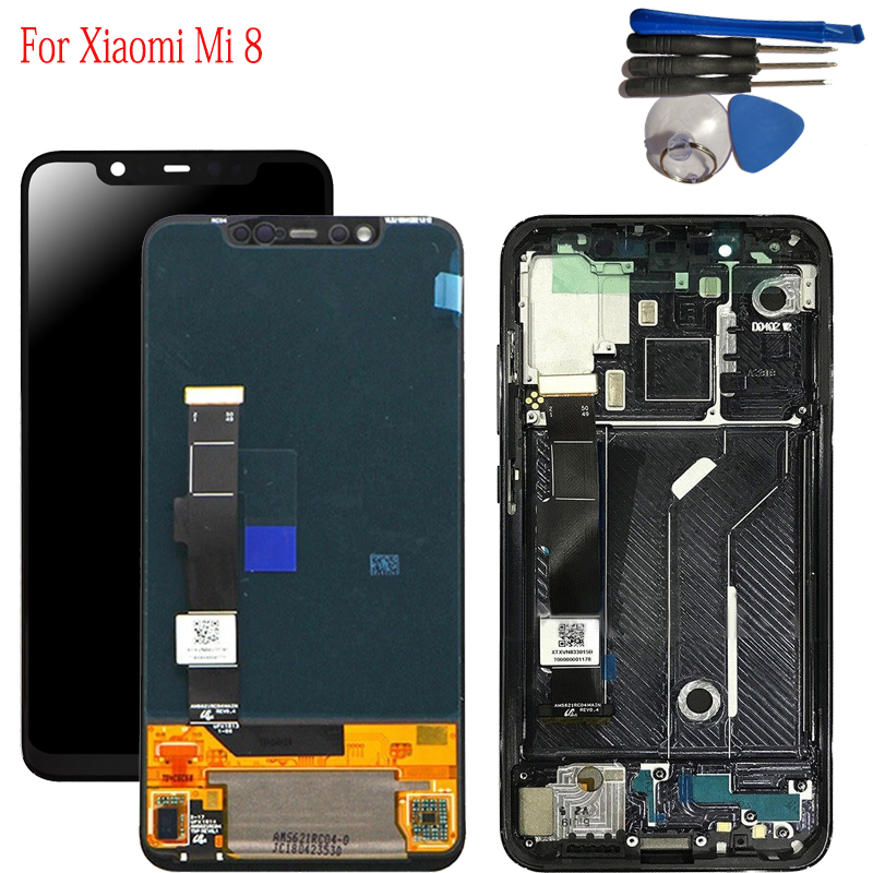 With  Frame 6.21 For Xiaomi Mi8 LCD Display Digitizer Touch Screen Assembly For Xiaomi 8 LCD Screen Display +ToolsWith  Frame 6.21 For Xiaomi Mi8 LCD Display Digitizer Touch Screen Assembly For Xiaomi 8 LCD Screen Display +Tools