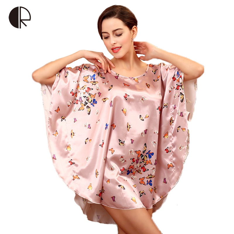 6 Color 2016 NewWomen Fashion Sexy Silk Loose Nightgown Print Butterfly Plus Big Size Nighskirt Sleepwear Free Shipping AP310