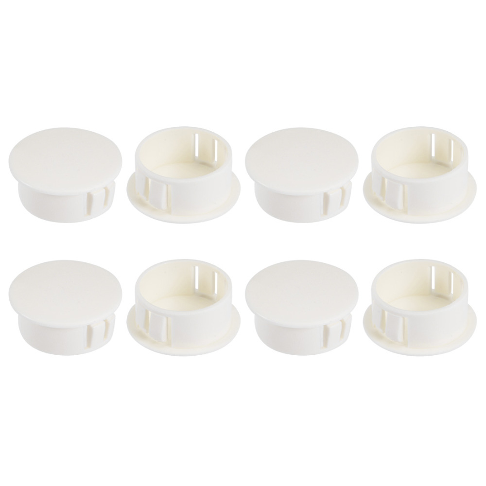 Uxcell White 8pcs Nylon 22.2mm Mounting Diameter Snap Panel Locking Round Socket Caps Without Gasket Hole Plugs Cover