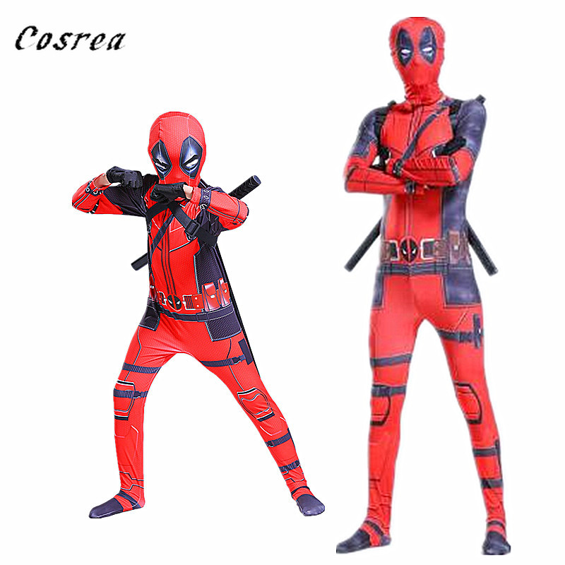 Free Shipping Cosplay Costumes Deadpool Costume with Mask Superhero Suit Boy One Piece Full Bodysuit Halloween Party Adult Kid