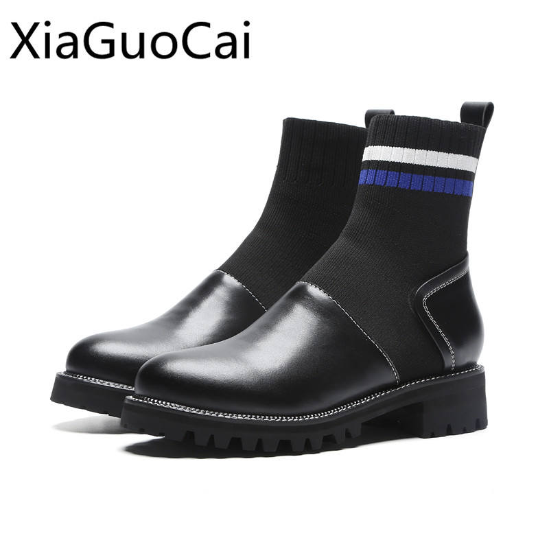 Knitting Women Socks Boots Elastic Winter Ankle Boots Women s Shoes Female  Martin Boots English Platform Shoes 9fa00b8ad407