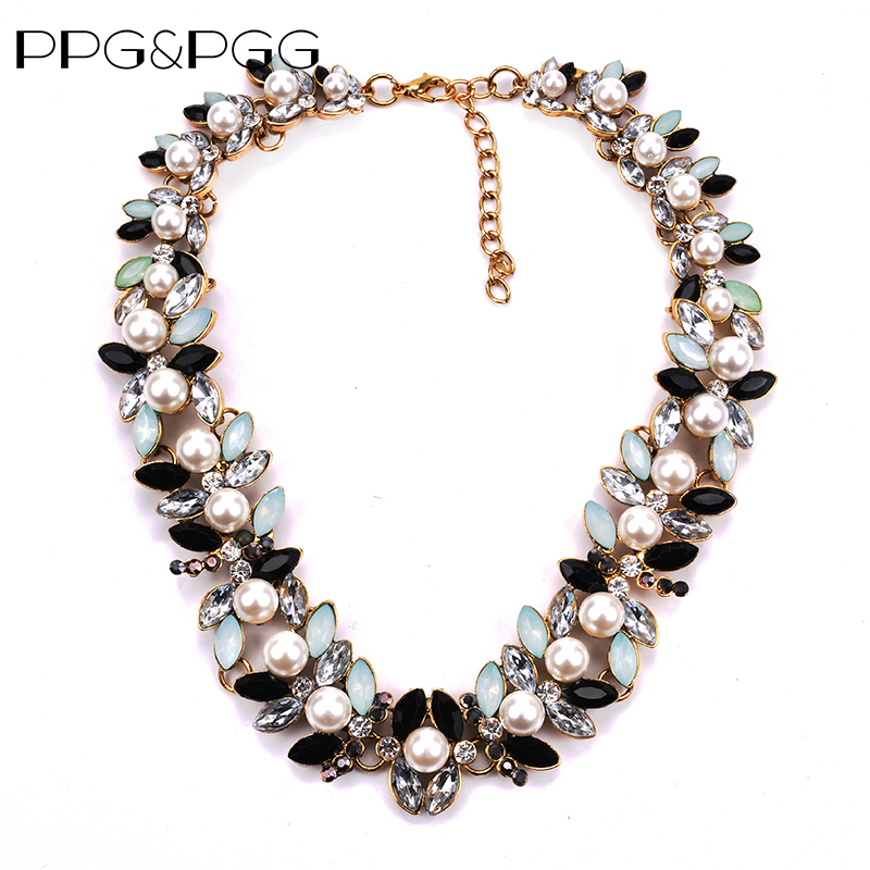 PPG&PGG Imitation Pearl Black Beads Choker Necklace Short Design Crystal Jewelry