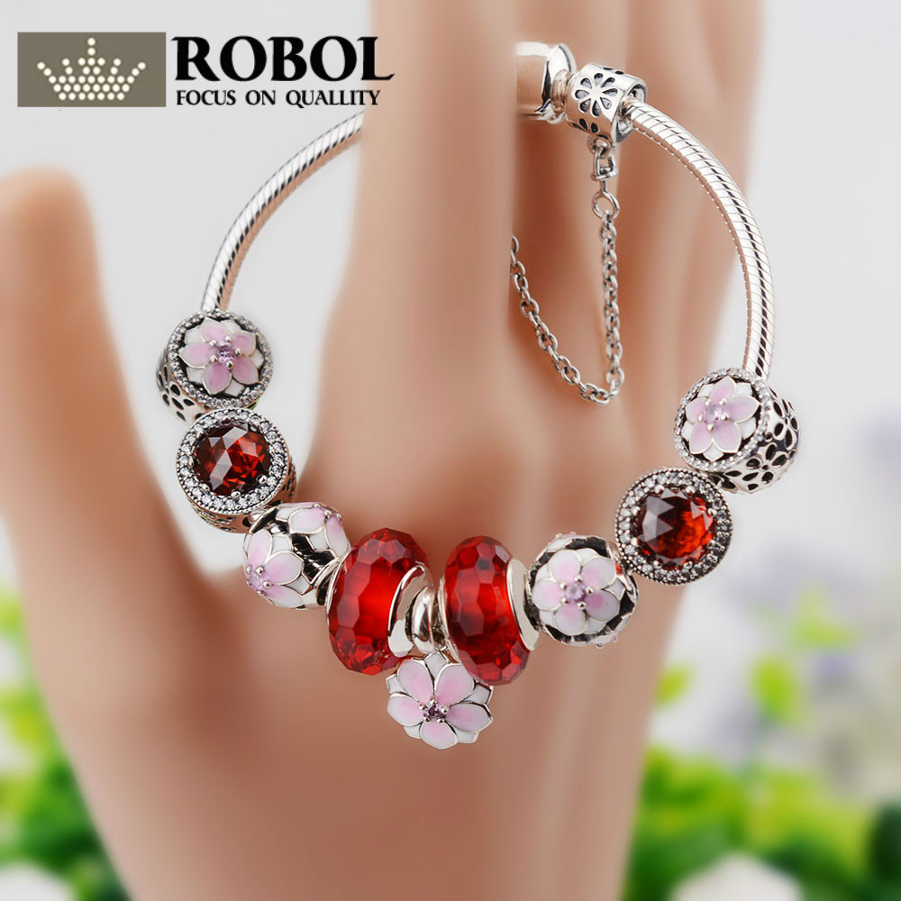 ROBOL Hot Sale 100% 925 Sterling Silver Bangles & Bracelet Adjustable With Mum Sweetheart Charms Beads Fit Original Jewelry GiftROBOL Hot Sale 100% 925 Sterling Silver Bangles & Bracelet Adjustable With Mum Sweetheart Charms Beads Fit Original Jewelry Gift
