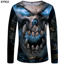 KYKU Brand Skull T shirt Men Long sleeve Devil Hip hop Hop Rock Anime Printed Tshirt Punk Tee Mens Clothing 2018