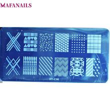 6*12CM Rectangle Geometric Pattern Nail Art Stamping Plate Grid/Dot Image Template Manicure Stamps 1Pcs