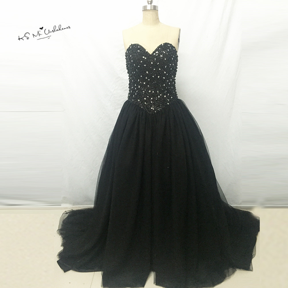 Discount Black And White Gothic Wedding Dresses Real: Real Black Gothic Wedding Dresses Beaded Ball Gown Wedding