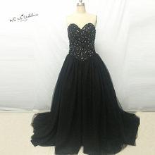 e1095d453485 Reais Vestidos de Casamento Gótico Preto Frisado vestido de Baile Vestidos  de Casamento Corset Corpete de