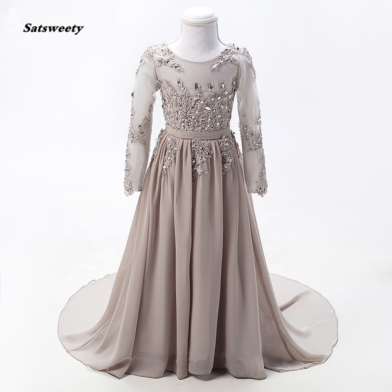 Grey Long Sleeves Sexy Children   Flower     Girl     Dresses   2019 Diamond Sequined First Communion   Dresses   For   Girls
