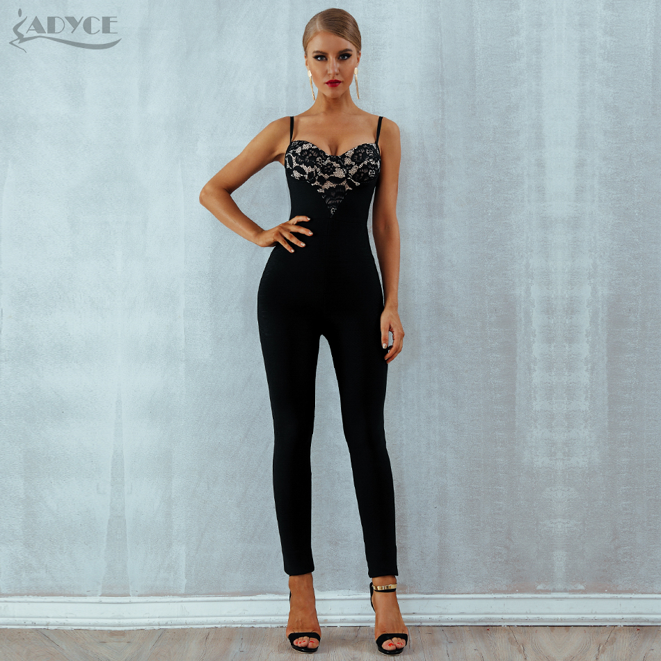02d88effeba0 Detail Feedback Questions about Adyce 2018 New Summer Women Jumpsuit Romper Elegant  Black Lace Sleeveless Spaghetti Strap Long Jumpsuit Celebrity Party ...